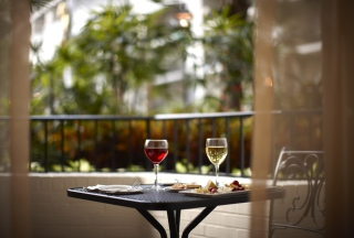 Lunch With Wine On Terrace Picture for Android, iPhone and iPad