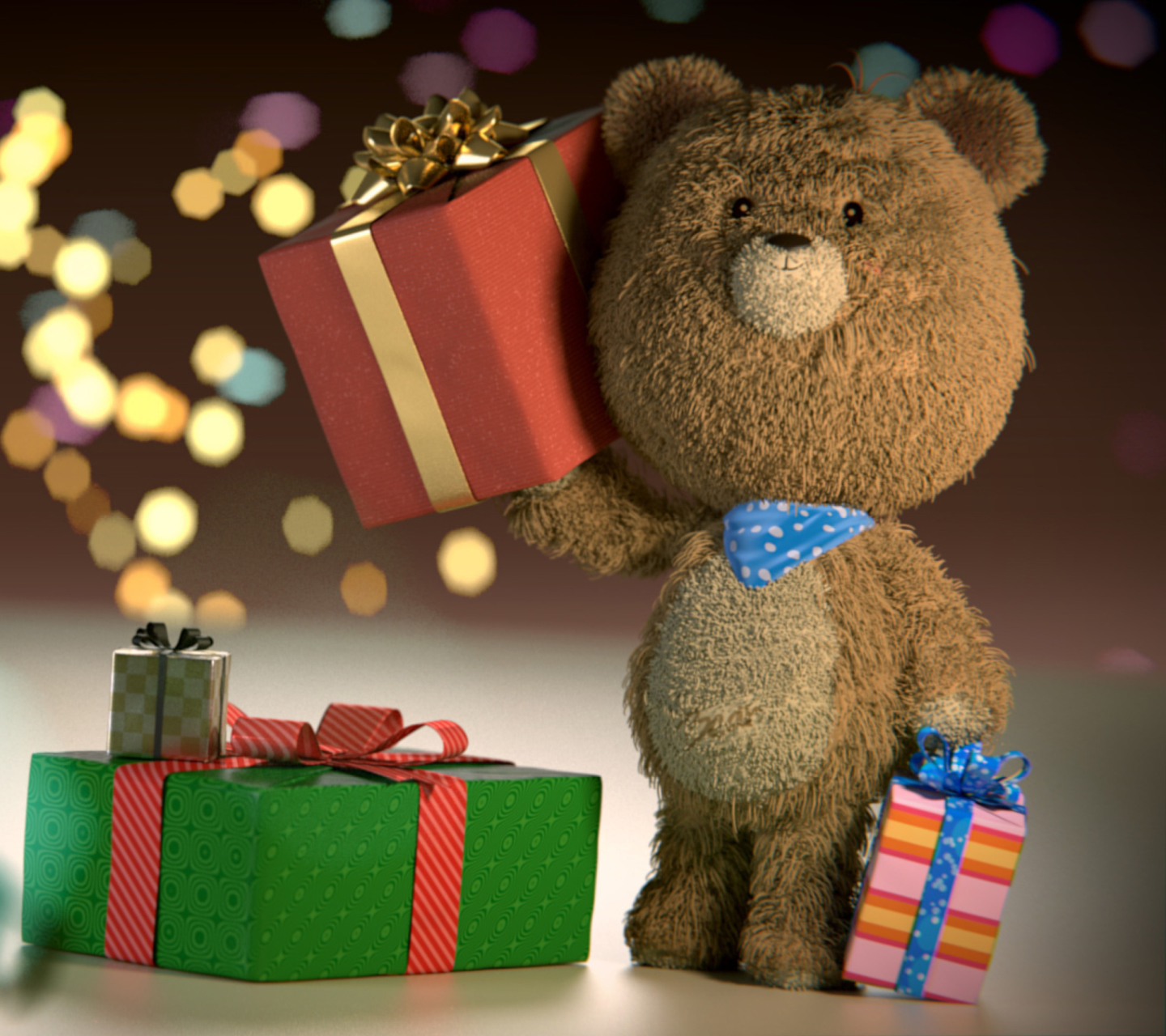Screenshot №1 pro téma Teddy Bear With Gifts 1440x1280