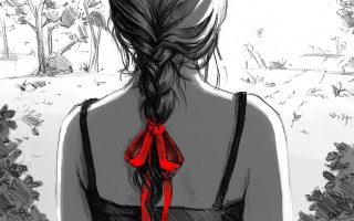 Sketch Of Girl With Braid Background for Android, iPhone and iPad