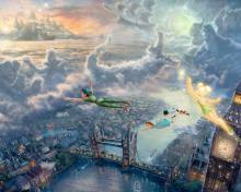 Thomas Kinkade, Tinkerbell And Peter Pan para 220x176