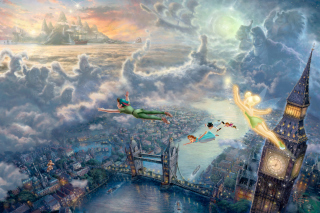 Thomas Kinkade, Tinkerbell And Peter Pan - Obrázkek zdarma pro Widescreen Desktop PC 1920x1080 Full HD