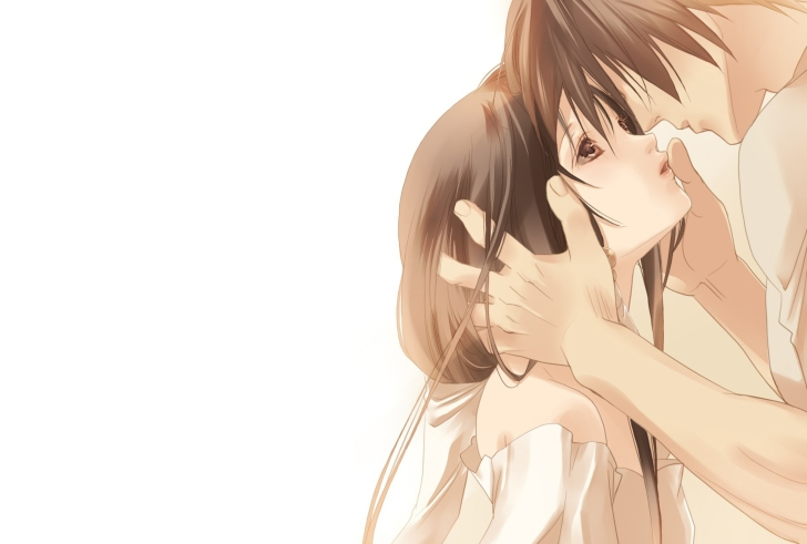 Anime Couple Sweet Love Kiss Wallpaper For Android Iphone