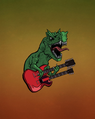 Dinosaur And Guitar Illustration - Obrázkek zdarma pro iPhone 6 Plus
