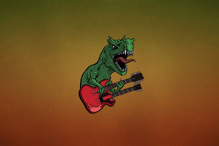 Free Dinosaur And Guitar Illustration Picture for Android, iPhone and iPad