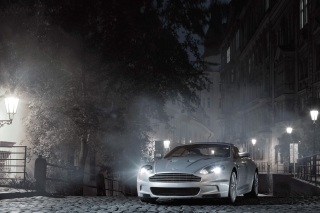 White Aston Martin At Night Background for Samsung Galaxy Note 4