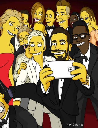 Kostenloses Simpsons Oscar Selfie Wallpaper für iPhone 6 Plus