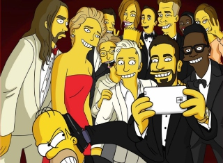 Simpsons Oscar Selfie Wallpaper for Android, iPhone and iPad