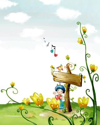 Fairyland Illustration Background for Nokia Asha 310