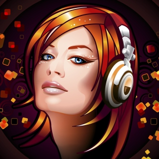 Headphones Girl Illustration sfondi gratuiti per 1024x1024
