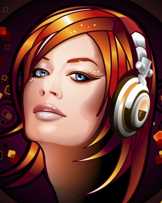 Free Headphones Girl Illustration Picture for Nokia C2-06