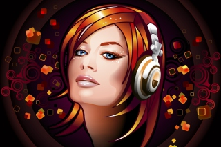 Headphones Girl Illustration Background for Android, iPhone and iPad