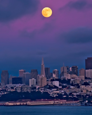 Orange Moon On Purple Sky Wallpaper for 128x160