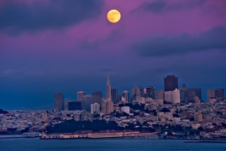 Orange Moon On Purple Sky Picture for Android, iPhone and iPad