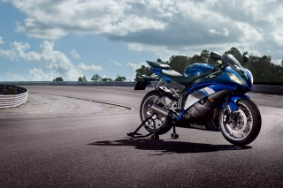 Blue Yamaha R6 Background for Android, iPhone and iPad