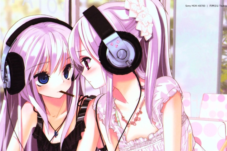 Anime Girl in Headphones wallpaper