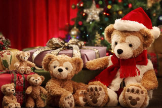 Christmas Teddy Bears Background for Android, iPhone and iPad