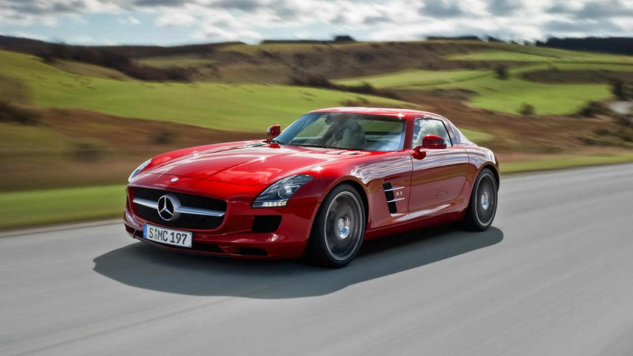 Red Mercedes Benz SLS AMG