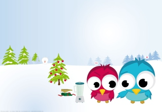Funny Christmas Birds Wallpaper for Android, iPhone and iPad