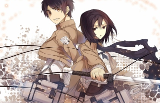 Eren Jaeger with Mikasa Ackerman Wallpaper for Android, iPhone and iPad