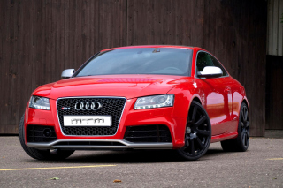Audi RS5 Red Background for Android, iPhone and iPad