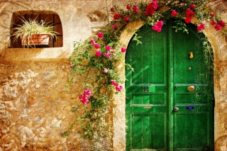 Picturesque Old House Door Wallpaper for Android, iPhone and iPad