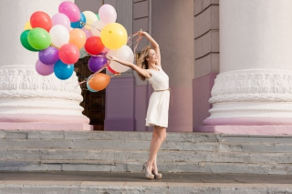 Free Girl With Colorful Balloons Picture for Android 2560x1600