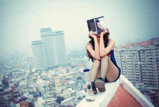 Girl With Book Sitting On Roof Background for Android, iPhone and iPad