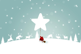Santa Claus with Reindeer Wallpaper for Android, iPhone and iPad