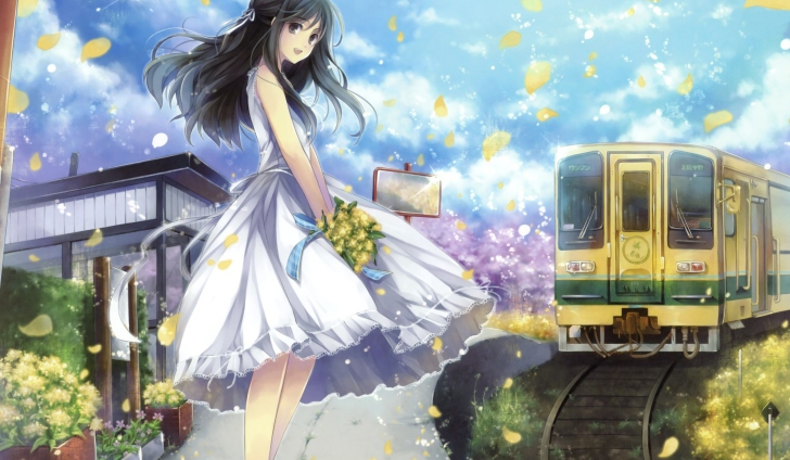 Screenshot №1 pro téma Girl In White Dress With Yellow Flowers Bouquet