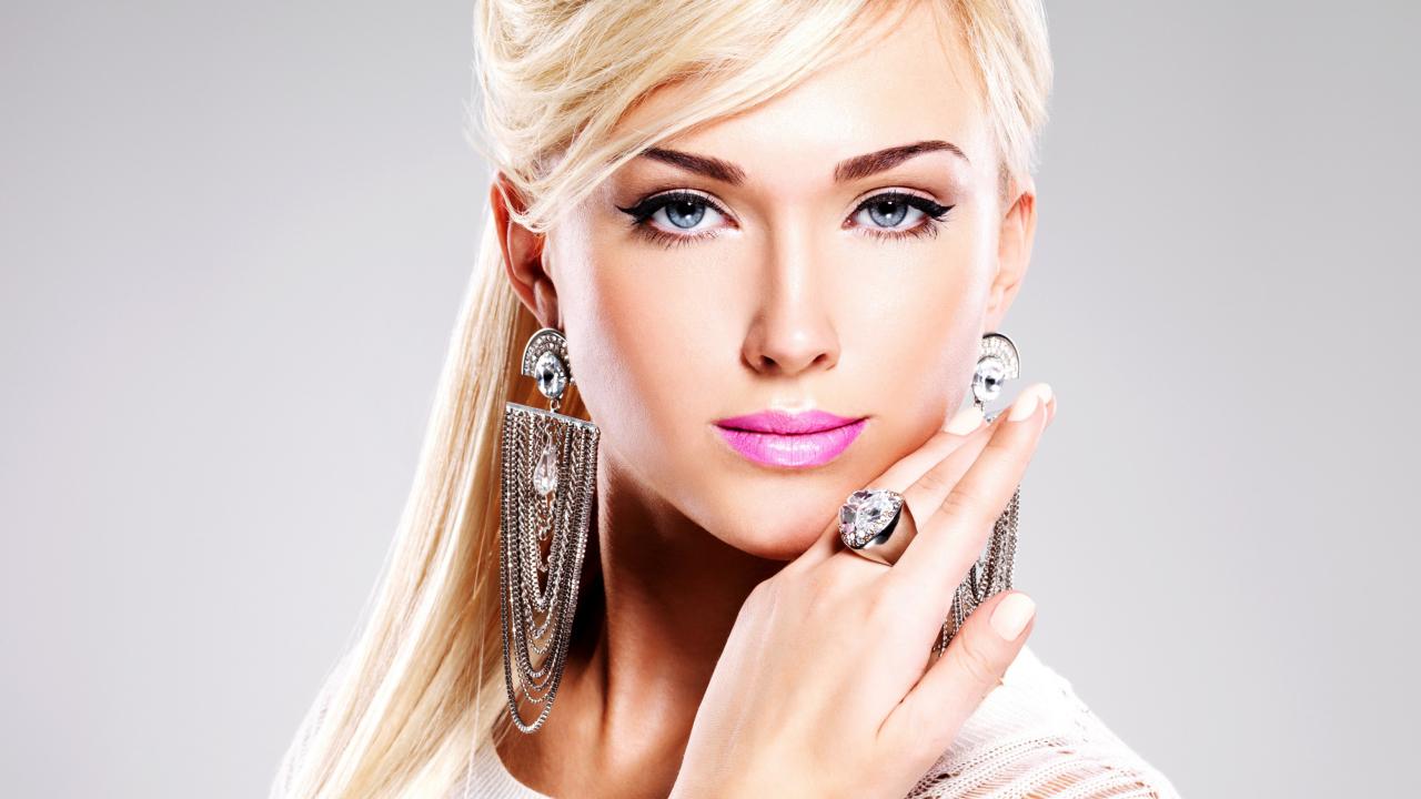 Beautiful Blonde Model Wearing Fashion Jewelry