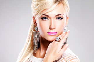 Beautiful Blonde Model Wearing Fashion Jewelry Wallpaper for Android, iPhone and iPad