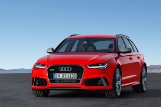 2016 Audi RS6 Avant Red Background for Android, iPhone and iPad