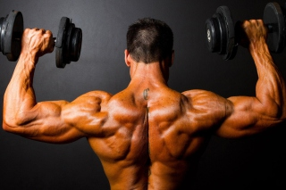 Athlete With Dumbbells In Gym Background for Android, iPhone and iPad