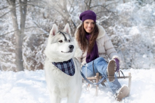 Husky And Girl Background for Android, iPhone and iPad