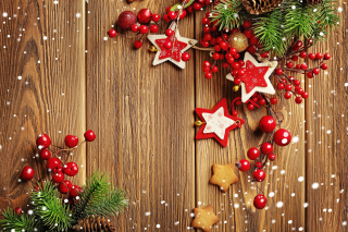 Xmas Wooden Decorations with Cones Picture for Android, iPhone and iPad
