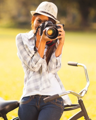 Girl photographer Background for Nokia C1-01