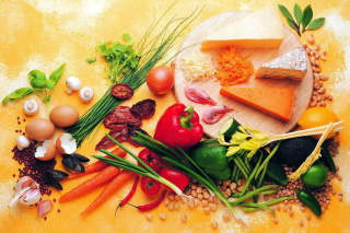 Still life of vegetables, cheese and eggs Wallpaper for 220x176
