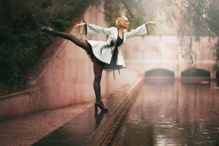 Ballerina Dance in Rain Background for Android, iPhone and iPad