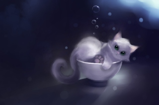 Free White Kitty Painting Picture for Android, iPhone and iPad