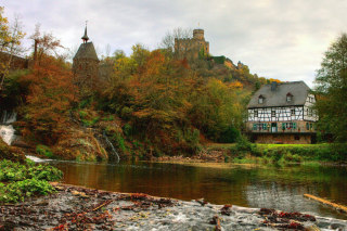 Free Castle in Autumn Forest Picture for Android, iPhone and iPad