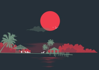 Big Red Moon Background for Android, iPhone and iPad