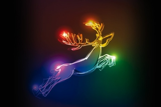 Lighted Christmas Deer Wallpaper for Android, iPhone and iPad