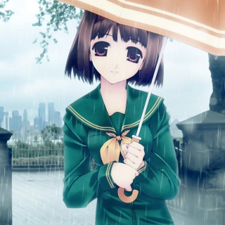 Free Anime girl in rain Picture for iPad 3