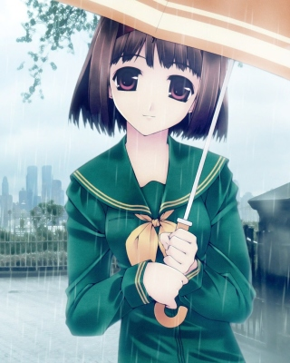Anime girl in rain Background for 240x320