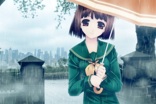 Anime girl in rain Background for Android, iPhone and iPad