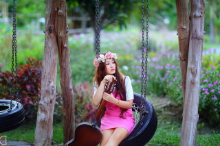 Pretty Asian Girl In Pink Dress And Flower Wreath sfondi gratuiti per cellulari Android, iPhone, iPad e desktop