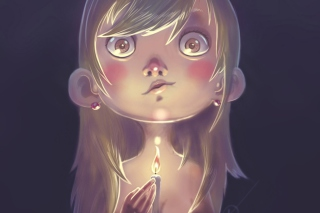 Free Girl With Candle Picture for Android, iPhone and iPad