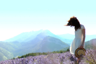 Girl In Lavender Field sfondi gratuiti per Samsung Galaxy Note 2 N7100