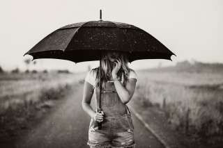 Girl Under Black Umbrella Picture for Android, iPhone and iPad