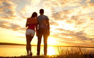 Couple Watching Sunset Wallpaper for Android, iPhone and iPad